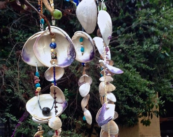 SOLD.  Mobile Art.  Wind Chimes. Wall Hanging.  Native American Inspired. Wampum Challenge: Manhattan Transfer