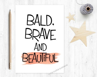 funny cancer card, cancer card, chemotherapy card, cancer support card, you beat cancer, bald brave and beautiful, cancer quote, chemo card