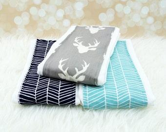 3 Baby Burp Cloths (Grey Deer, Navy Herringbone, Aqua Herringbone) ||| burp rag, baby burp cloths, burping rag, baby shower gift, baby gift