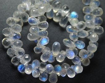 25 Pcs,Finest Quality AAAA  Blue Flashy Rainbow Moonstone Faceted Tear Drops Shape Briolettes,7-8mm