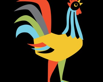 Mid Century Modern, Rooster Print, Rooster Decor, Farmhouse Chic