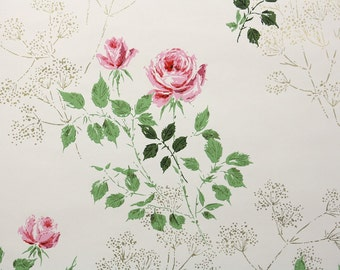 1960s Vintage Wallpaper by the Yard - Pink Roses on White