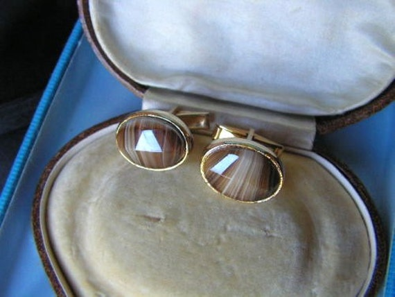 Vintage goldtone mens cufflinks with brown creamy banded glass