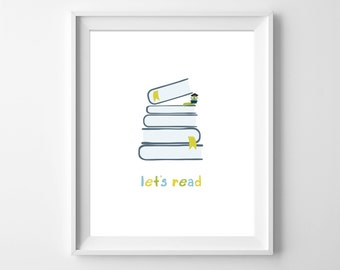 Reading Nursery Wall Art, Nursery art, Read Inspirational Print, Kids wall art, Nursery wall decor, Childrens Wall art, Let's Read, Read Art