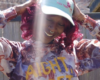 """Sylp/Beloved """"aight bet"""" all over cat print crewneck sweater"""