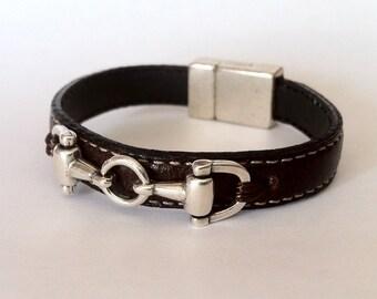 leather bracelet, horse bracelet ,  bit  bracelet,  equestrian jewelry, mens bracelet,  women bracelet, snaffle bit bracelet