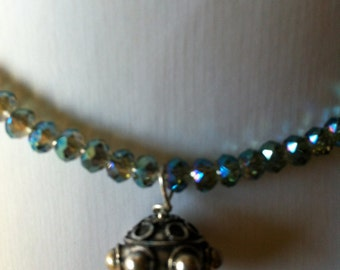 Blue/green crystal necklace with silver bead drop with a magnetic clasp