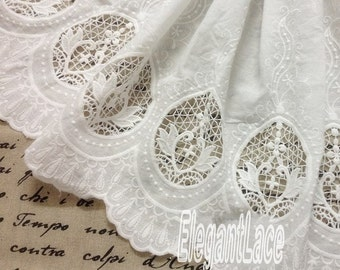 Cotton Lace Fabric in White, Retro Hollowed Flower Lace Embroidery Fabric Lace E8046