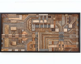 """Reclaimed wood wall art of a circuit board, 48"""" wide x 24"""" high, large wall art, wall sculpture."""