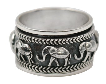 925 sterling silver elephant spinner ring