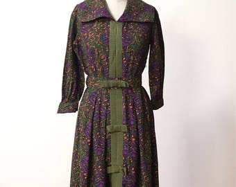 Vintage 50s 60s Cotton Dress with Novelty Print