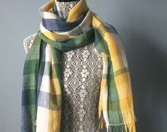 Merino wool and silk wide scarf