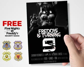 5 Nights at Freddy's, Paper Party Supplies, Party Supplies, Party Décor,Kid Invitation, Halloween Party, Nightmare Freddy, Flyer, FNAF Party
