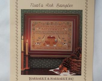 Noah's Ark Cross Stitch Sampler Pattern, Vintage Leaflet, Animals, Margaret & Margaret
