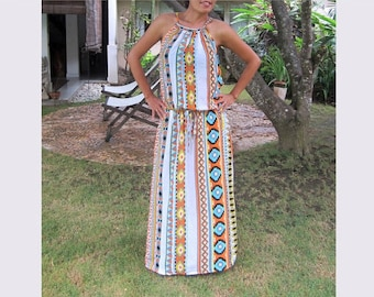 Tribal Orange maxi dress, summer dress, sun dress, long dress, women's dress