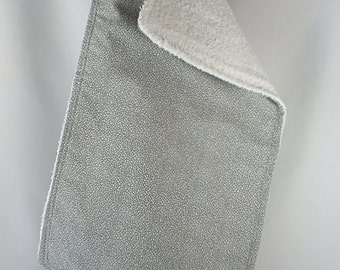 Hand Dyed Gray Muslin Swaddling Blanket & Burp Cloth Combo -  You Pick Burp Print You Want -  Makes a GREAT Baby Shower Gift