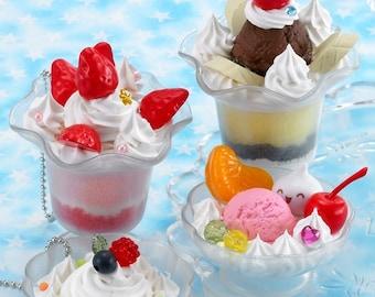 "Japanese DIY Whipple ""Fruits Parfait Set"" Fake Sweets Key Chain Making Kit"