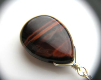 Red Tiger Eye Necklace . Stones for Creativity Jewelry . Wire Wrapped Gemstone Necklace . Natural Stone Necklace