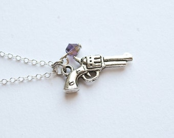Silver Gun Necklace- Swarovski -925 Sterling Silver or Silver Tone Chain- Minimalistic Charm Jewelry- Custom Birthstone-(N002)