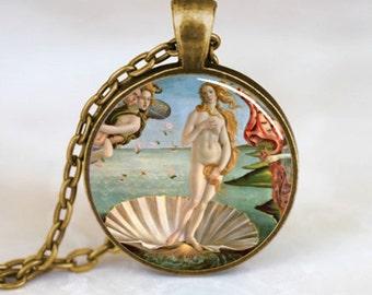 Birth of Venus Pendant , Birth of Venus Necklace , Botticelli Art Pendant , Bronze (PD0477)