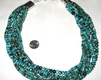 Turquoise multi strand Rondelle Beaded Necklace with Sterling clasp