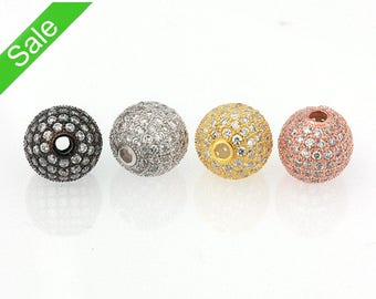 Wholesale 6mm 8mm 10mm 12mm Round Pave Beads, 50% off, CZ Micro Pave Ball Bead, Crystal Cubic Zirconia Bead, Pkg of 1PCS, B0N0.RH01.P01
