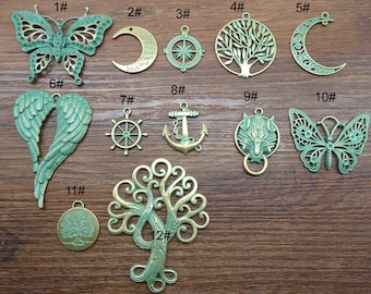 Antique Bronze patina green  moon tree  Wings, Tree of Life Chains/Charm Pendant