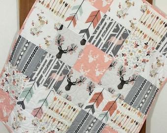 Woodland Quilt Kit, Baby Girl Quilt Kit,Floral Quilt Kit, Woodland Nursery Bedding, Floral Antlers, Deer, Arrows,  Pink Quilt Kit