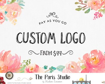 Logo personnalisé Design fleur aquarelle Logo photographie Logo Restaurant Logo marque fleuriste affaires site Blog Floral Logo création de Logo