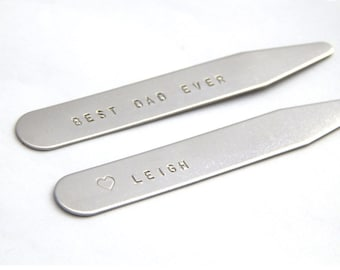 Personalized Collar Stay Best Dad Ever Set of 2 Stainless Steel - Initials Date Phrase Custom Collar Stays Father's Day Gift for Him