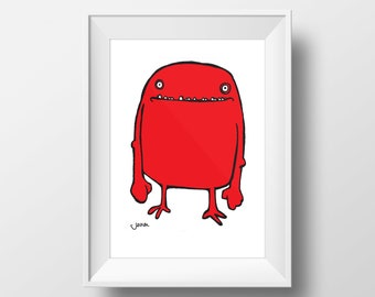 Bob - Monster Print - Childrens Wall Art - Monster - Colourful Art - A4 Print