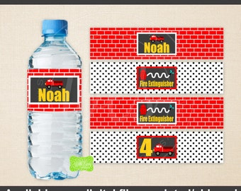 Firetruck Water Bottle Labels - Firetruck Party Decor - Red Firetuck Bottle Wraps - Emailed & Shipped Available