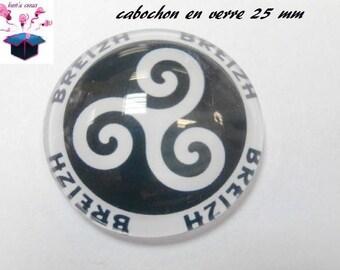 1 cabochon clear 25 mm breton theme
