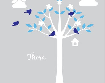 Large Bird House Tree Silhouette Scene Kit with Custom Name Vinyl Wall Decals