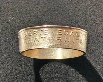 France 20 Centimes coin ring featuring  Liberty,Fraternity and Equality, Ring Size 7, 8 or 8 1/2