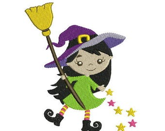 Embroidery design machine Halloween Witch broom instant download