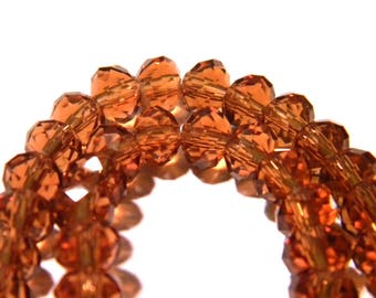"46 beads 6 mm x 4 mm glass ""Austrian Crystal"" faceted - amber - faceted - F135"