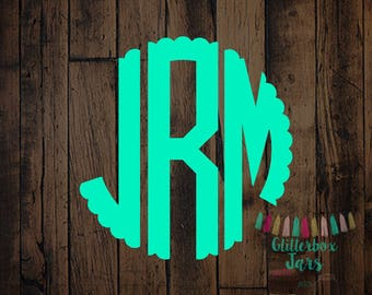 Scallop Monogram Decal-Scalloped Decal-Scalloped Monogram-Cup decal-Decal-Monogrammed-Monogram decal-Car decal-Vinyl Decals