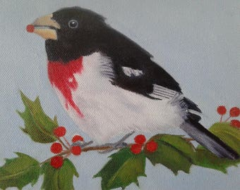 Rose -Breasted Grosbeck Painting Bird Art Holly and Bird Art North American Bird Winter Bird Bird Lovers Nature Painting Karen Snider