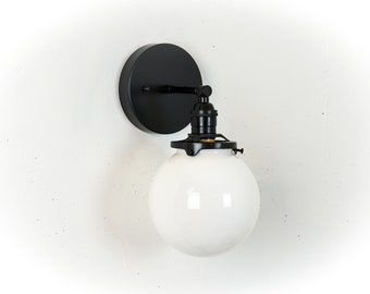 Globe Vanity Light - Black Bathroom Lights - Vanity Lighting - Wall Lamp - Wall Sconce - Black And White - Modern Light Fixture