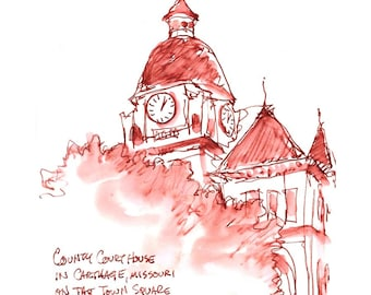 """Print from original watercolor and pen urban sketch, """"County Courthouse, Carthage"""" by Mark Alan Anderson."""