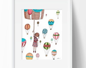 Hot Air Balloon Wall Art Print for Girl's Room Custom Art for Playroom Vintage Wall Art Hot Air Balloons 8x10 Vintage Nursery Wall Art