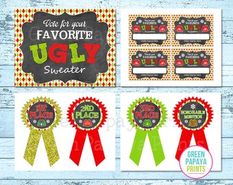 Ugly Sweater Party Kit - Printable - Instant Download - DIY - Sweater Party - Printable Prize Ribbons - Voting Cards, Ugly Sweater Contest