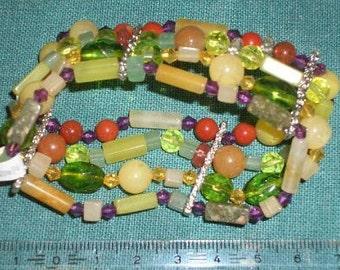 Sale-4-row bracelet semi-precious stone: ' Magic Forest '-4reihig