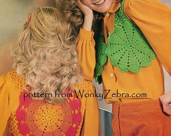 Vintage Crochet doiley vest doily waistcoat bolero festival top jacket Pattern PDF 845 from WonkyZebra