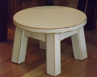 "Reclaimed wood, round stool, riser, step stool, foot stool, distressed, solid, white 8""-10"" 12""H"