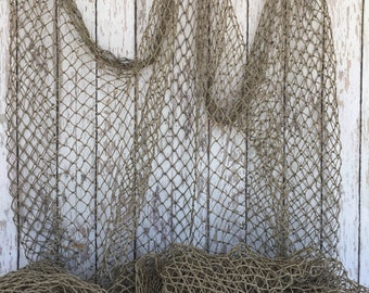 Old Used Fishing Net - 5 ft x 10 ft - Vintage Fish Netting - Fabric For Crafts & Tables - Nautical Wall Decor
