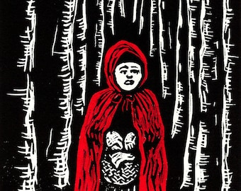 Red Riding Hood - original linoleum block print