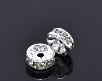 Rhinestone spacers and silver plated 6mm