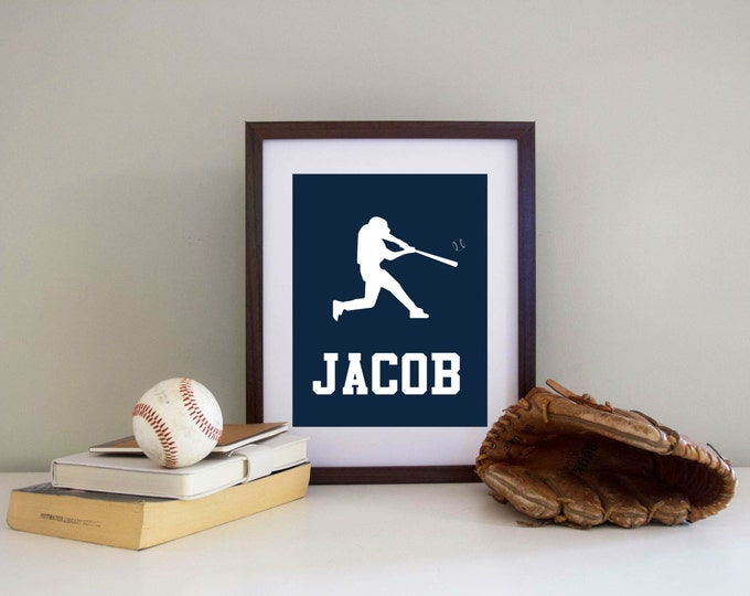 Baseball SILHOUETTE  Print -   Personalized  - Baseball Print Choose Your Colors & Position